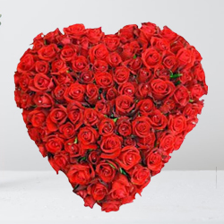150 Dutch Red Roses in Heart Shape Arrangement