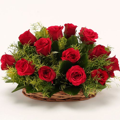Online Deliver Red Roses Basket for Rose Day