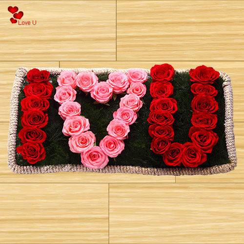 Book Online I Love U Rose Arrangement