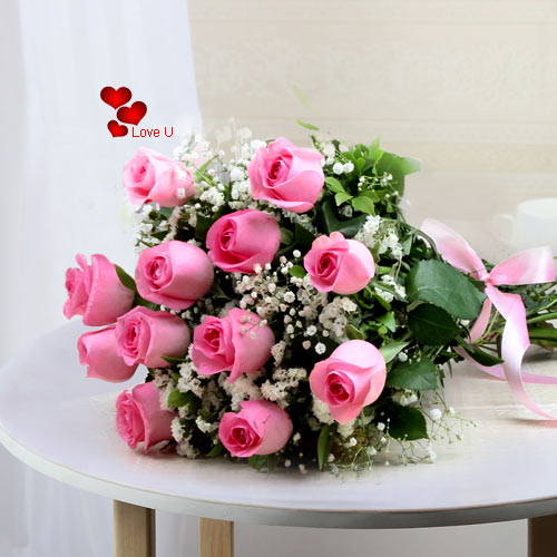Deliver this Bouquet of Pink Roses for V-Day
