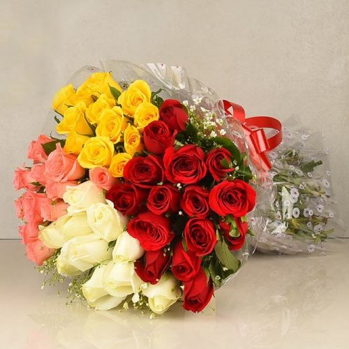 Rose Day Gift of Mixed Roses Bouquet