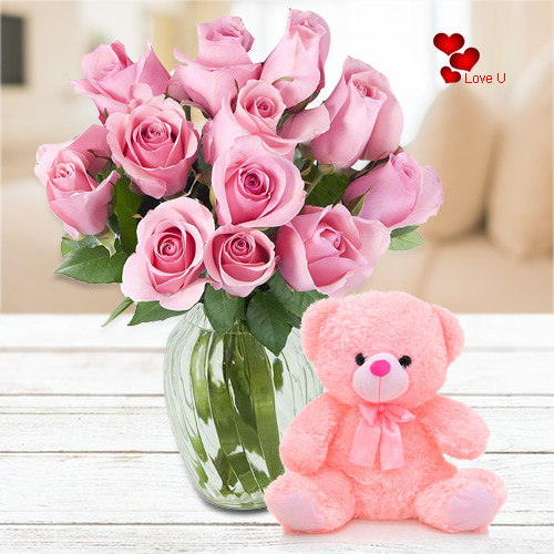 Online Pink Roses N Teddy Gift Combo for Rose Day