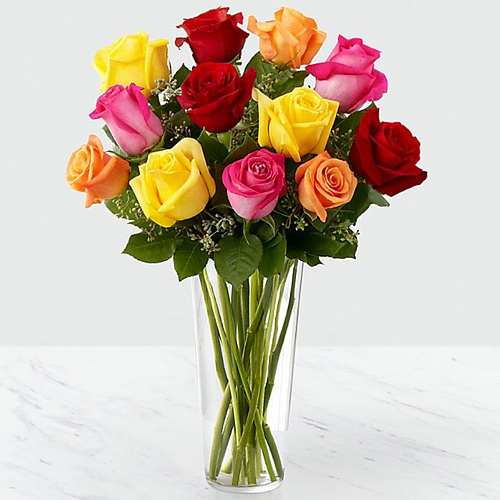 Pretty Assorted Roses in Vase