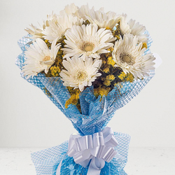 Graceful Arrangement of White Gerberas with Fillers