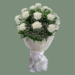 Captivating Eternal Love White Carnations Bundle