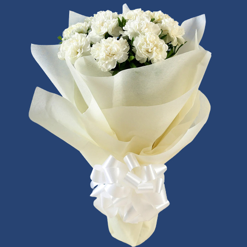 Blossoming Bouquet of White Carnations