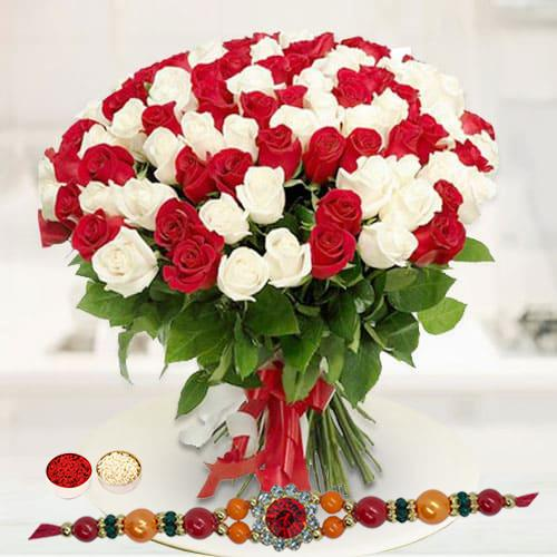 Glowing Marvel Red N White Roses Premium Bouquet with Rakhi