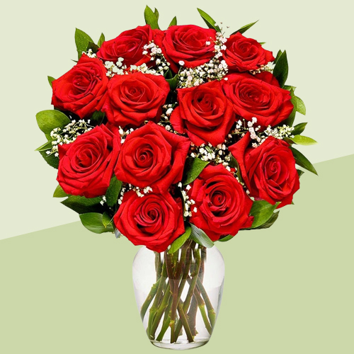 Stunning Red Roses in a Glass Vase