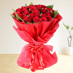 Clustered Sentimental Surprise Premium Bouquet of Dutch Roses