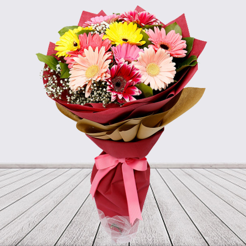 Luminous Loving Treat of Ten Gerberas Bundle