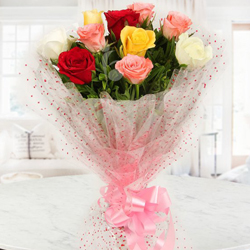 Send Artistic Love in the Air Mixed Roses Bouquet to Aluva