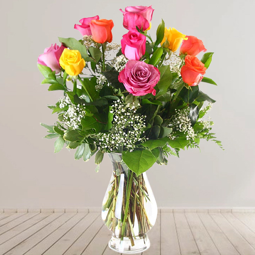 Stunning Selection of Mixed Roses in a Glass Vase