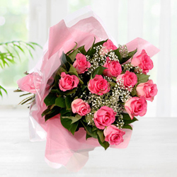 Exceptional Fresh Pink Roses Bouquet