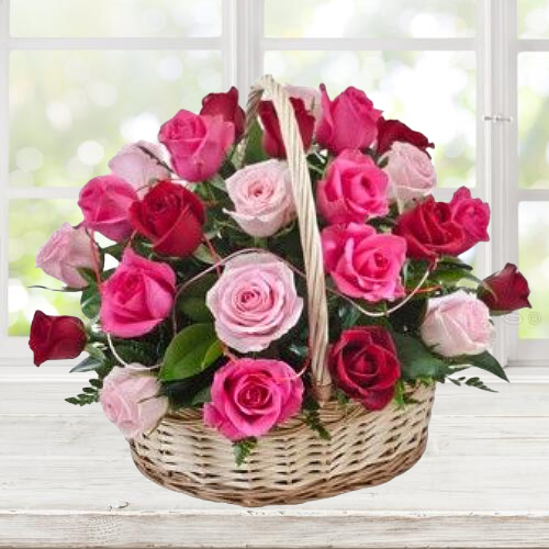 Lovely Basket of Pink N Red Roses