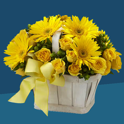 Charming Basket of Yellow Gerberas N Roses