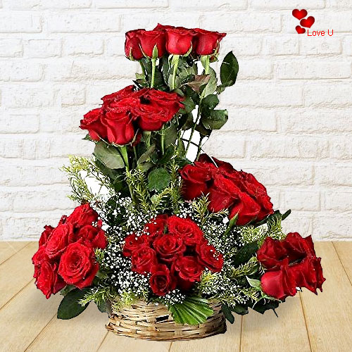 Send Red Roses Basket Arrangement for Rose Day