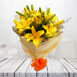B Day Gleams Bouquet of Sunshine Yellow Lilies