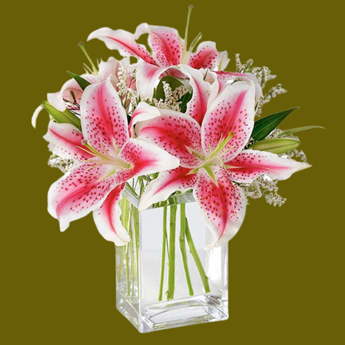 Soothing display of Pink Lilies in Glass Vase