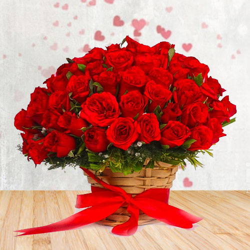 Gorgeous Selection of Red Roses surrounded with White Fillers