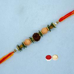 Lovely Rudraksha Rakhi with Everlasting Joy