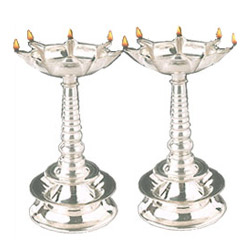 Silver Plated Lamp Set