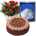 Send 12 Red Roses and Rasgulla with Eggless Cake 1 Kg. to Thane