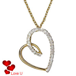 Love-Embellished Gold Heart Pendant with Chain