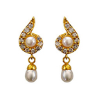 Fancy Genuine Pearl and Rhinestone Studded Pair of Earrings
