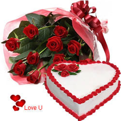 <u><font color=#008000> MidNight Delivery : </FONT></u>:Exclusive <font color =#FF0000> Dutch Red </font>   Roses  Bouquet with Heart Shaped Cake