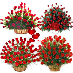 <u><font color=#008000> MidNight Delivery : </FONT></u>:Biggest Love : 250 Pcs. Exclusive Dutch Red Roses in Multi Basket