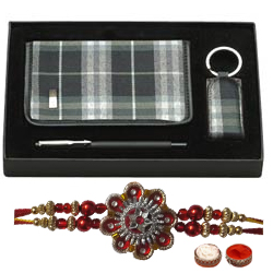 Unique Rakhi Gift pack of Diary , Pen and Key Chain  with Free Rakhi, Roli Tilak and Chawal