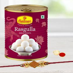 Charming Rakhi with Haldiram Rasgulla