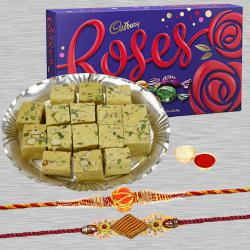 Pretty Rakhi with Cadbury Roses N Soan Papdi