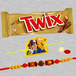 Beautiful Bhaiya Rakhi, Pokemon Rakhi And Twix Chocolate