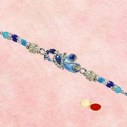 Gorgeous One Blue and White Stone Studded Rakhi