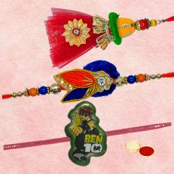 Lovely One Bhaiya Bhabhi Rakhi Set with One Bahubali Kid Rakhi