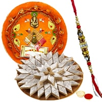 Arresting Gift of Appetizing Kaju Katli Haldirams Sweet and Wonderful Pooja Thali