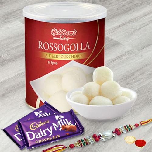 Two Dairy Milks (13gm) and Rasgulla with Rakhi and Roli Tilak Chawal
