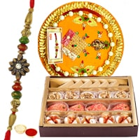 Tasty Haldiram Mixed Sweets and Designer Rakhi Thali