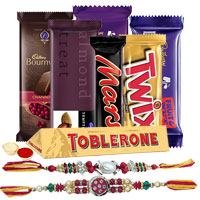 Delicious Chocolate Gift Hamper with Two Ad Rakhi