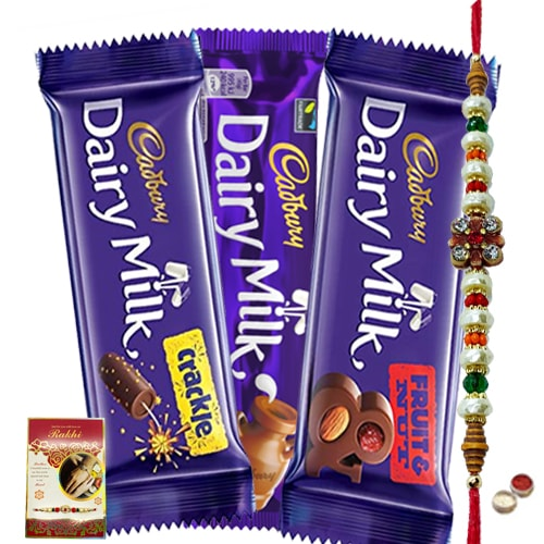 Assorted Cadburys Special Pack with Rakhi and Roli Tilak Chawal