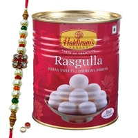Potent Rakhi Adornment of Haldiram Rasgulla and Designer Rakhi