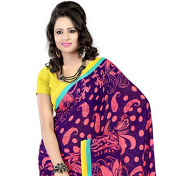 Breathtaking Purple Coloured Faux Georgette Printed Saree