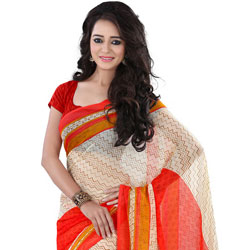 Astonishing Georgette Printed Saree in Beige and Red Colour
