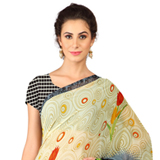 Attractively Shaded in Beige and Grey Weightless Georgette Digital Printed Saree