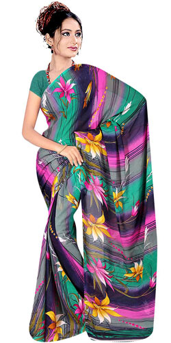 Attractive Women�s Printed Georgette Saree from Suredeal Brand