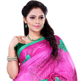 Amazing Crepe Printed Pink Saree for Women