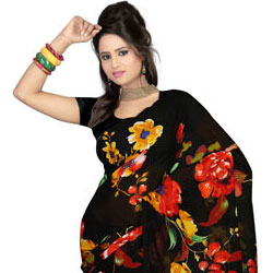 Impressionable Faux Gorgette Printed Saree