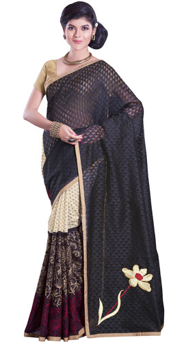 Vivacious Peach Net Chanderi Saree