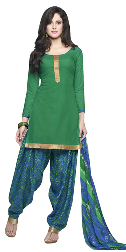 Astonishing Deep Green Coloured Pure Cotton Patiala Suit
